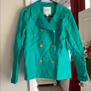 Teal jacket with gold buttons